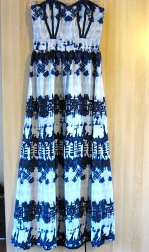 Boho Strapless Blue Print Corset Bust Chiffon Long Summer Maxi Dress ASOS 4 | eBay