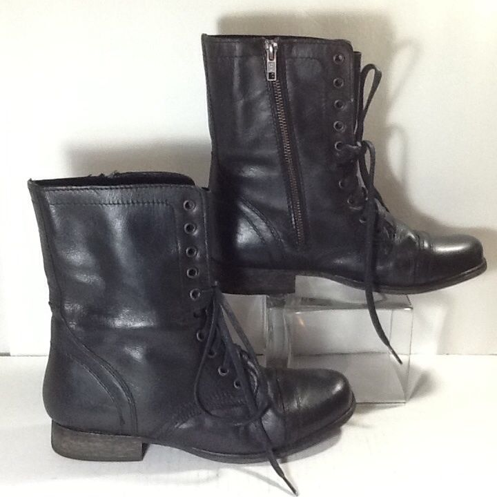 Steve Madden Womens Troopa Black Leather Boots 8M | eBay