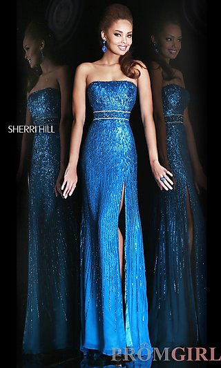 Prom Dresses, Celebrity Dresses, Sexy Evening Gowns - PromGirl: Floor Length Strapless Dress with Side Slit