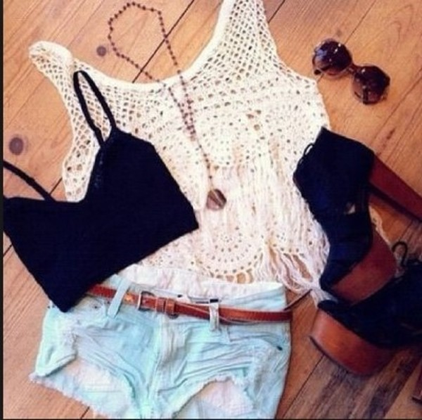 tank top bandeau shorts necklace sunglasses high heels shoes white black