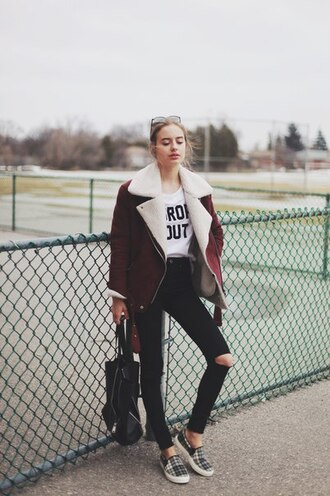 jacket shearling jacket taylor hill hipster class is internal sonya esman coat burgundy whool laine col rose blanc