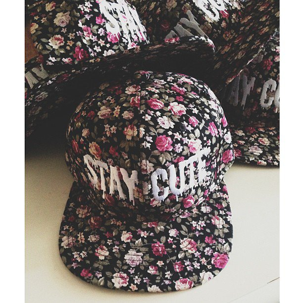 Stay Cute All Over Floral Snapback on Wanelo