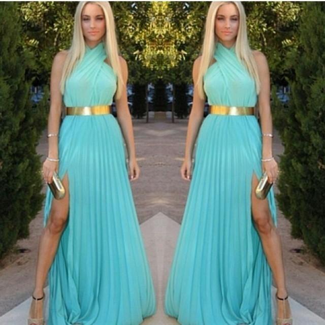Blue cross chiffon dress color mixa dresswith belt  / klassythreadz