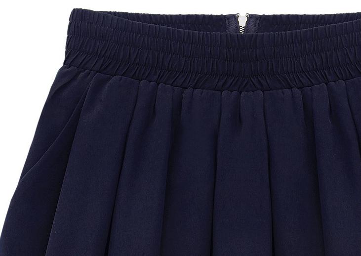 Dark Blue Elastic Waist Zipper Pleated Skirt - Sheinside.com