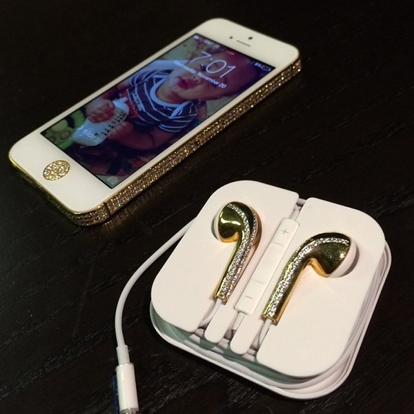 jewels iphone gold sparkle diamonds earphones phone phone cover iphone 5 case silver