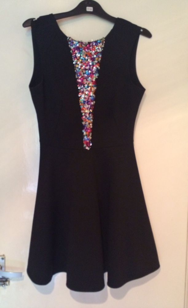 TOPSHOP SEQUIN SKATER DRESS OH MY LOVE XS (6/8) WITH LOW BACK | eBay