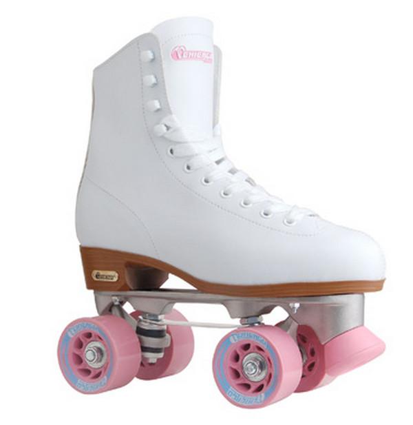 shoes roll roller skates roller skates skates white pink