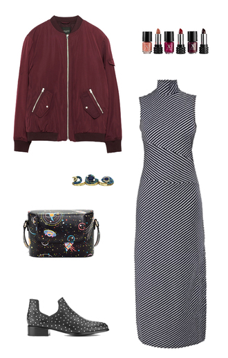 jacket bomber jacket burgundy jacket fall colors fall outfits back to school college striped dress outfit idea cute outfits patterned dress lipstick cosmetics make-up dark lipstick tommy hilfiger gigi x tommy science ankle boots shoulder bag double ring gemstone ring printed bag studded shoes black boots dress jewels bag shoes