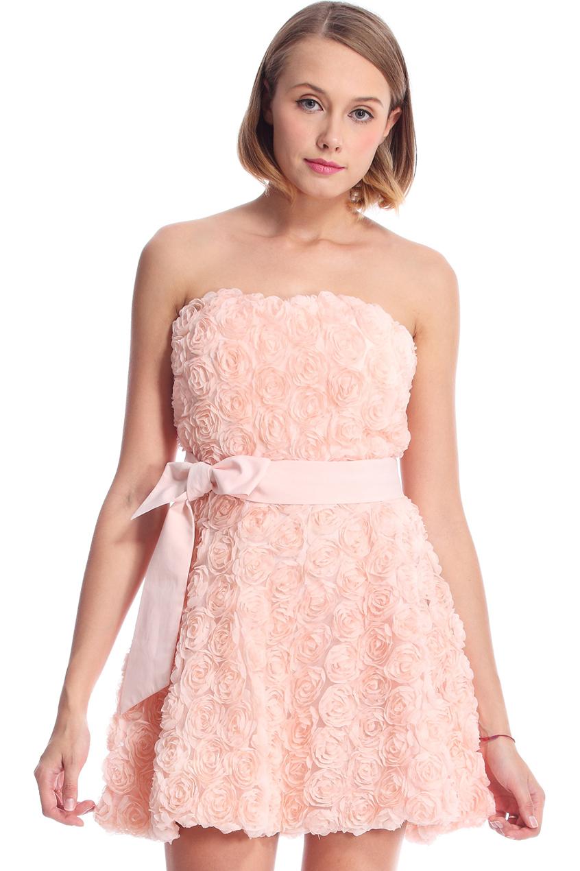 ROMWE | ROMWE Faux Roses Embellished Pink Bandeau Dress, The Latest Street Fashion