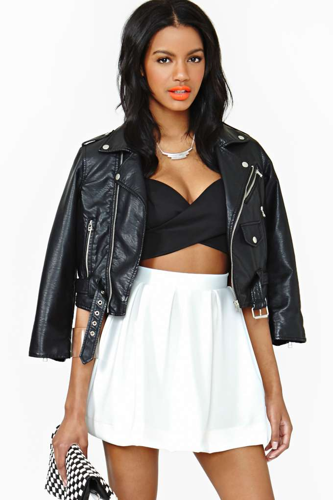 Scuba Skater Skirt - Ivory at Nasty Gal
