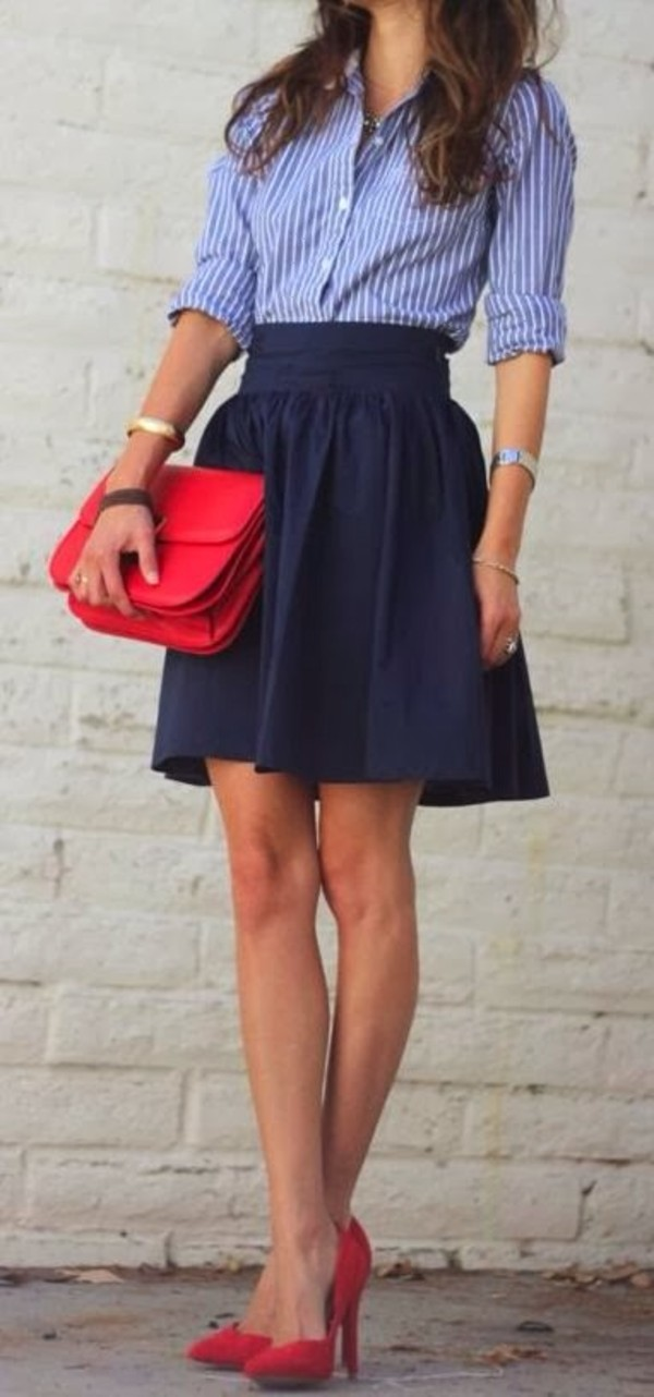 blouse pin stripes stripes blue blouse skirt dress shoes red heels