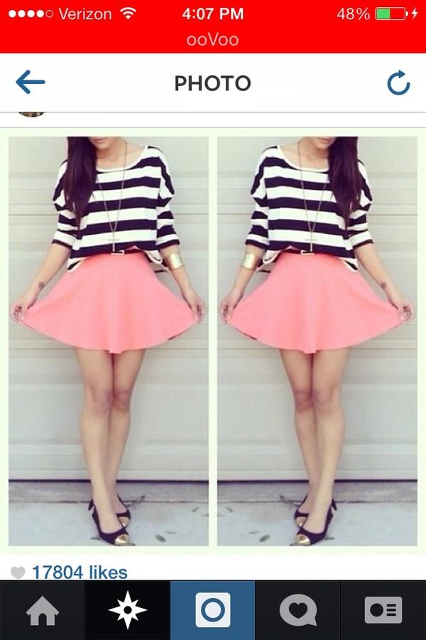 jewels bracelets skirt stripes shirt pink shoes t-shirt