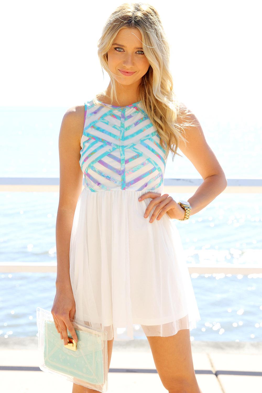 SABO SKIRT  Pastel Lattice Dress - White - White - 58.0000