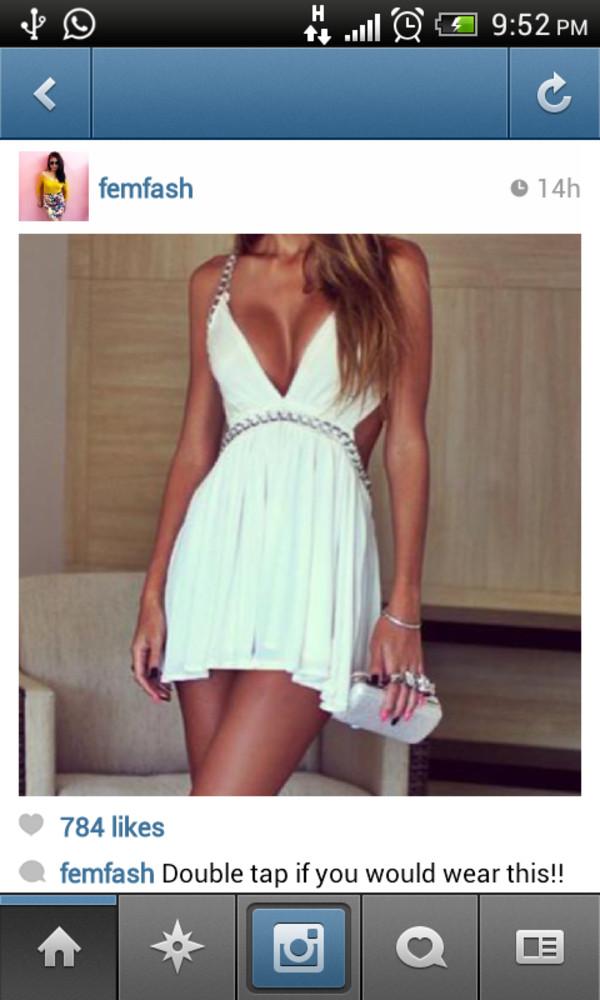 dress chain white white dress sexy mini
