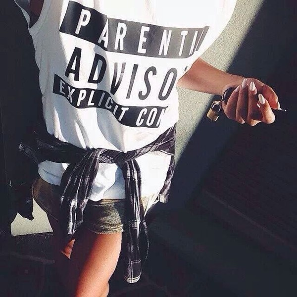 white top graphic tee quote on it plaid