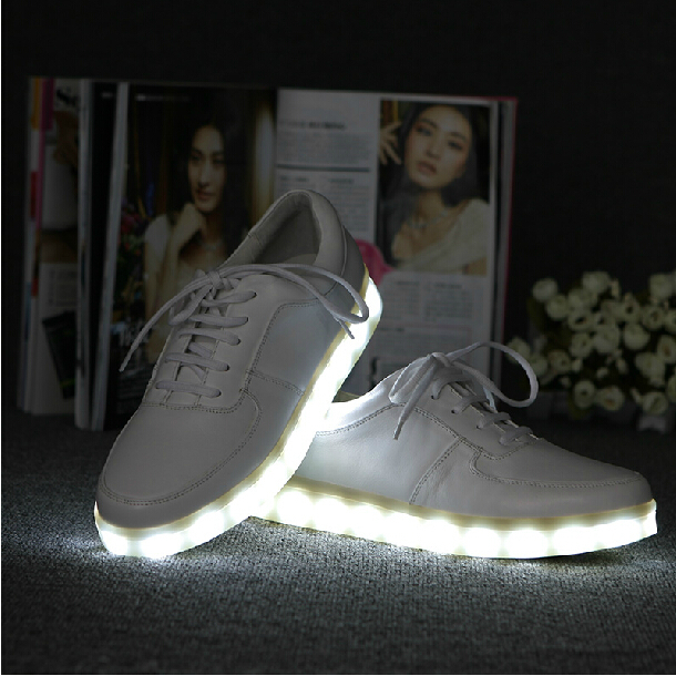 Free Shipping Simulation LED Lighted Shine USB Casual Genuine Leather Elevator Hiphop shoes with leds Brand For Fashion Sneakers on Aliexpress.com