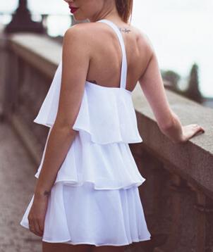 One-shoulder Mini Cake Dress - Juicy Wardrobe