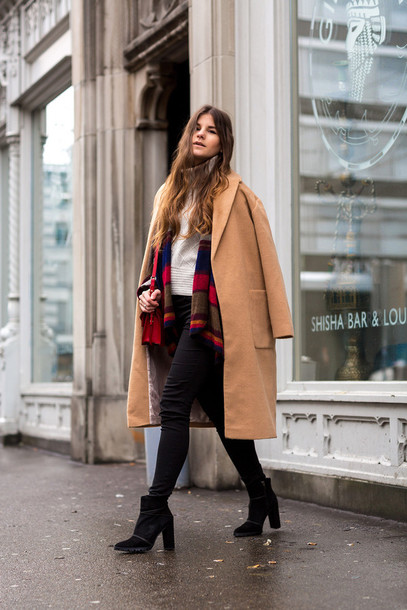 the fashion fraction blogger coat sweater pants shoes winter outfits
