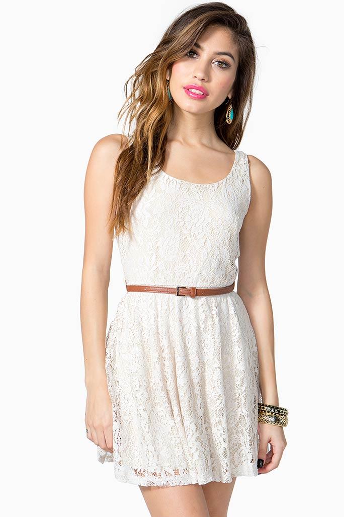 A'GACI Vintage Lace Belted Day Dress - DRESSES