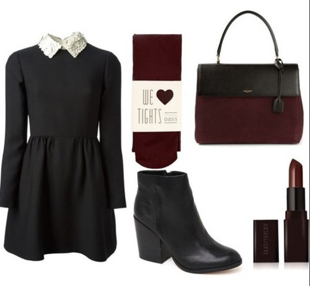 dress peterpan collared dress black dress