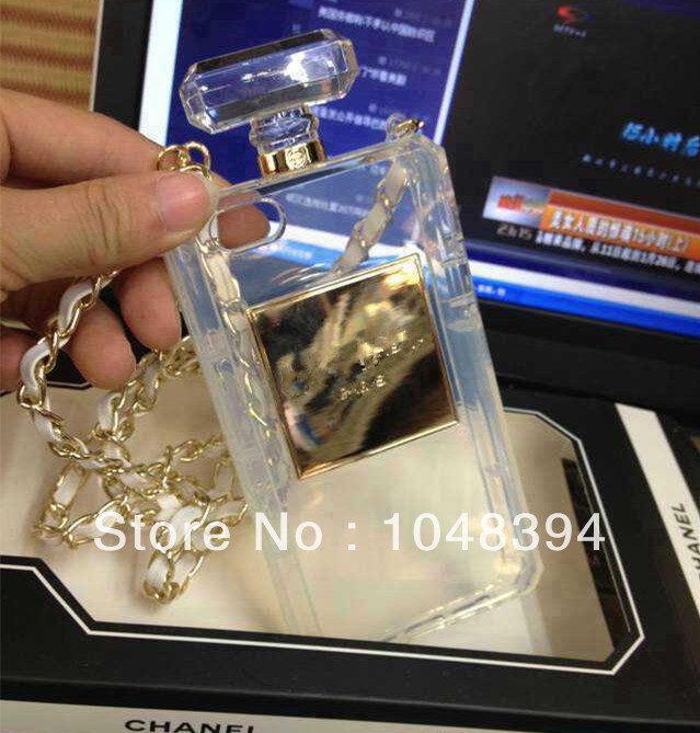 Wholesale Luxury BRAND Perfume Bottle Leather Lanyard Chain TPU Case  Handbag Case Cover For iPhone 5 5G 5S With Retail BOX-in Phone Bags & Cases from Electronics on Aliexpress.com