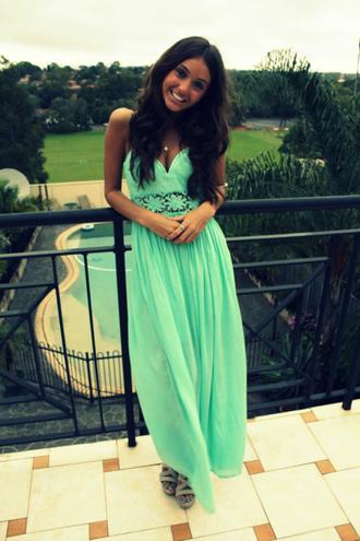 maxi dress mint dress dress crochet lace sundress classy turquoise high heels v cut green dress black hair necklace