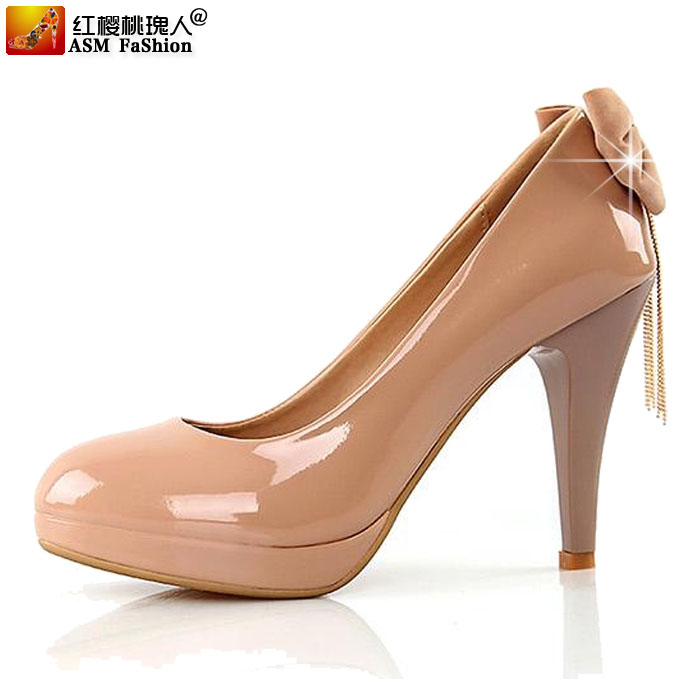 Free shipping 13 new spring highend women shoes princess shoes light leather bow metal chain superhigh heels nude color