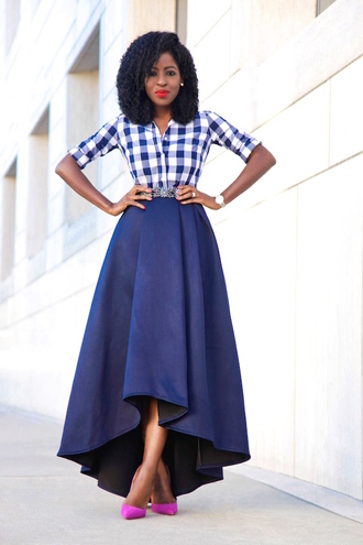 blogger high low skirt gingham navy