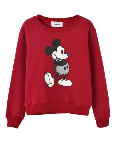 Mickey Pattern Raglan Sleeves Cotton Sweatshirt - Sweatshirts & Hoodies - Clothing