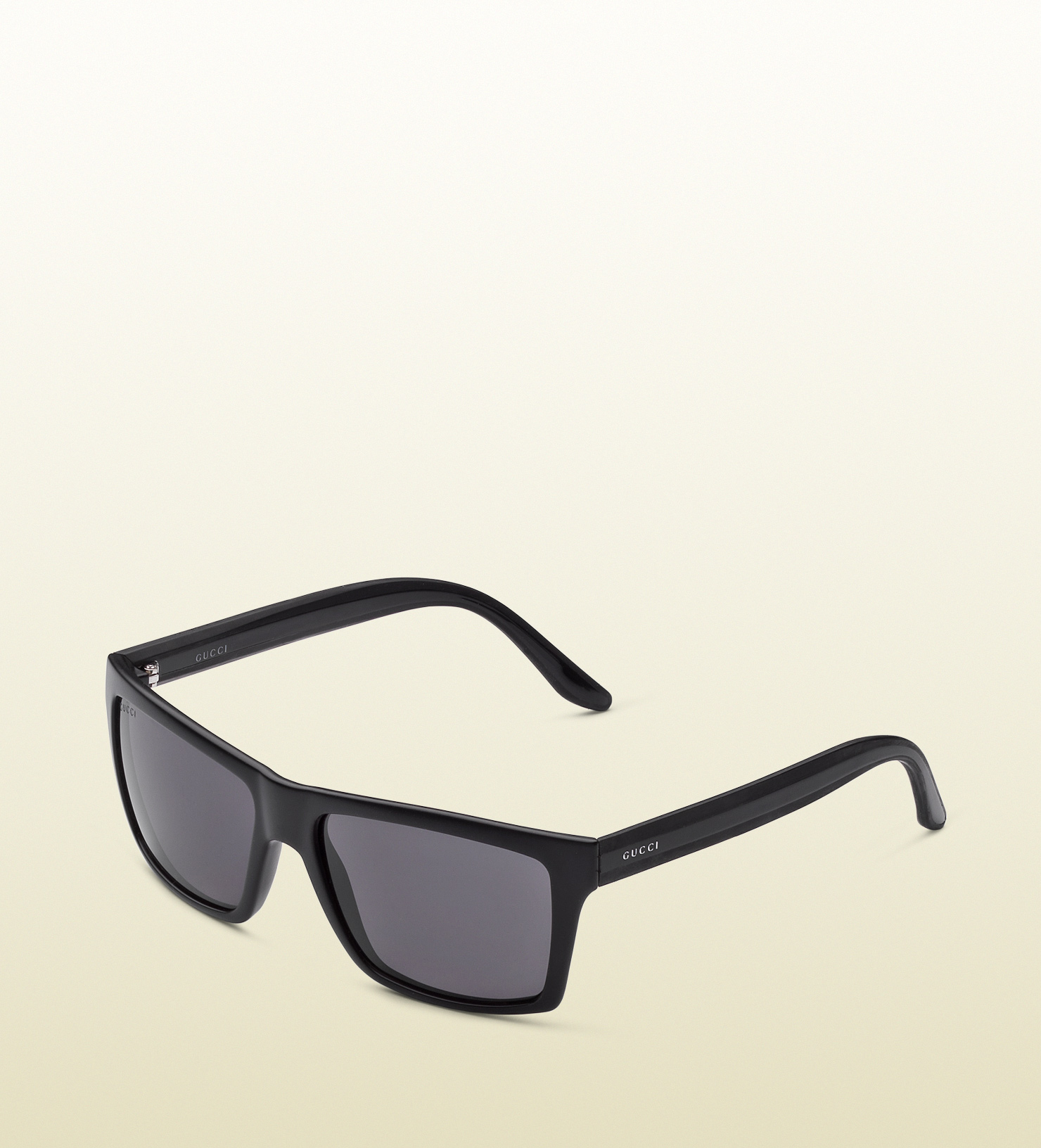 Gucci - medium rectangle frame sunglasses with gucci logo on web rubber temples. 298594J16961065