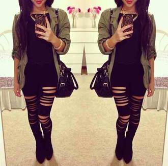 leggings casual black black jeans ripped jeans fashion trendy army green tumblr tumblr girl tumblr outfit outfit