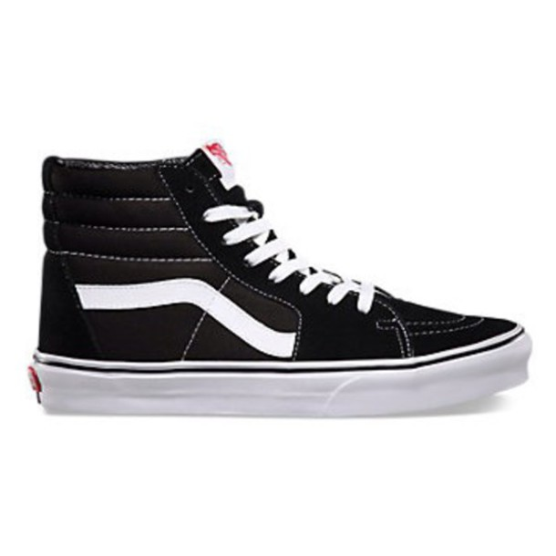 shoes vans vans of the wall sk8-hi vans black and white shoes high top sneakers