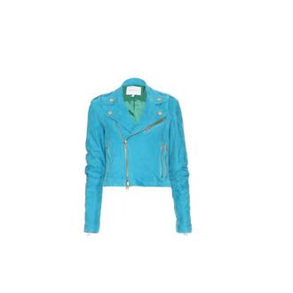 jacket blue leather modern hipster swag zip faux biker jacket
