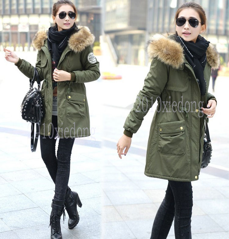 Women's Winter Warm Hooded Military Parka Jackets Overcoat Slim Fit Trench Coats | eBay