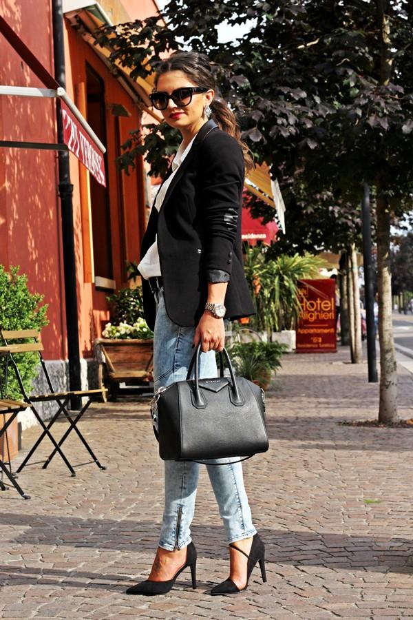 fashionhippieloves blouse jeans jacket bag shoes jewels sunglasses belt