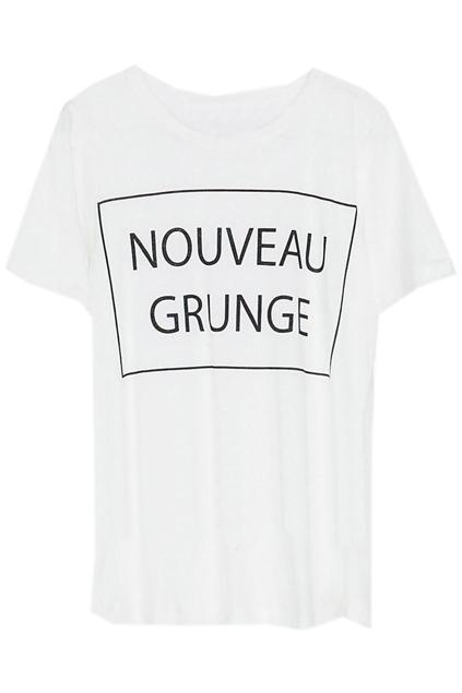 ROMWE   Letters Print White T-shirt, The Latest Street Fashion