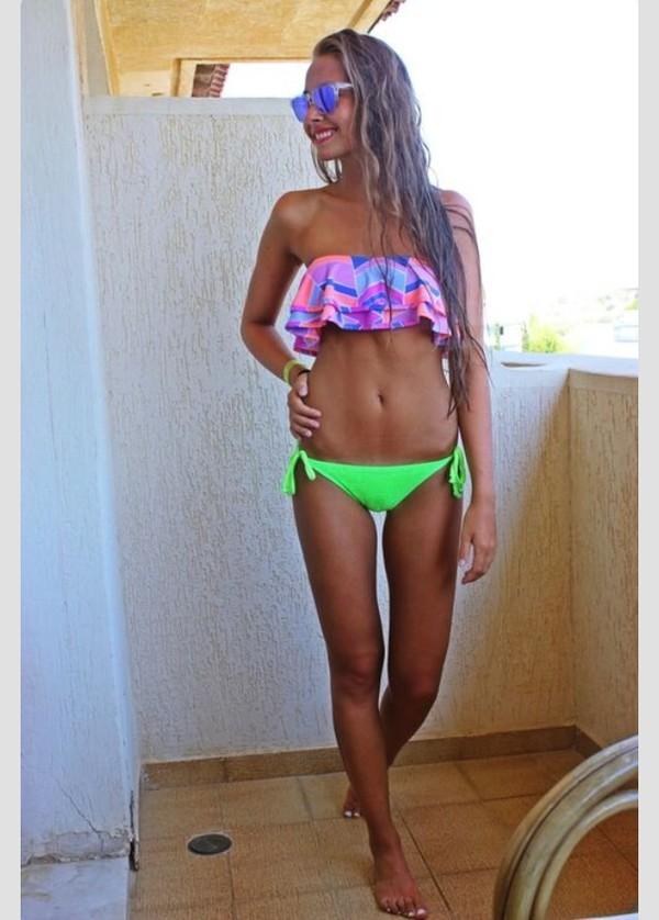 swimwear lime patterned bikini top swimwear printed