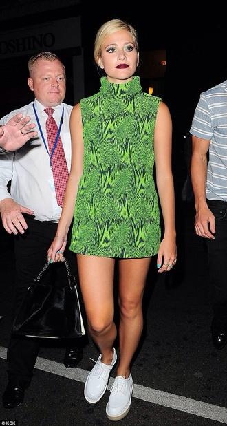 green celeb green dress pixie lott shoes white authentics pixie print turtleneck short dress celebrity style
