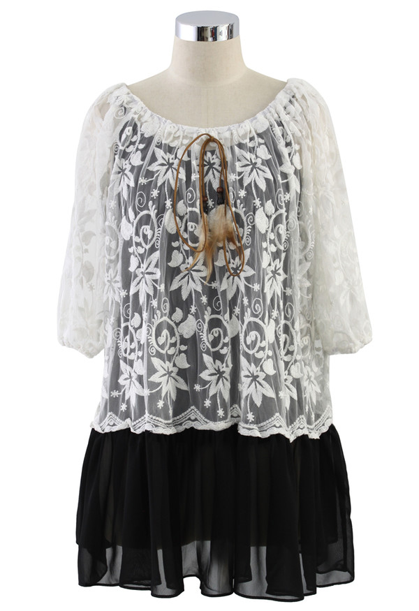 dress embroidered mesh top black chiffon hem