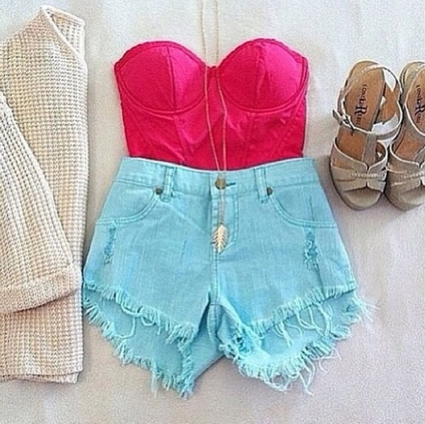 tank top blouse shorts shoes
