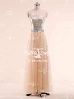 Champagne A-line Strapless Sequined Long Prom Dresses/ Evening Gowns - CallMeLady