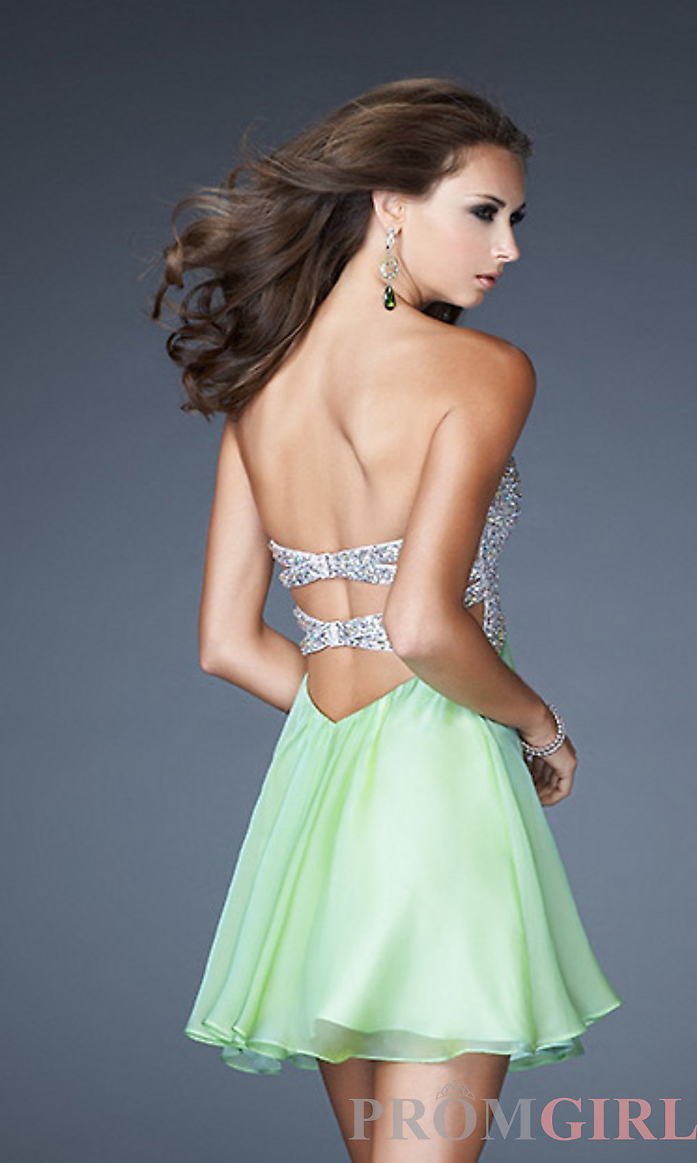 La Femme Strapless Short Prom Dress With Open Back