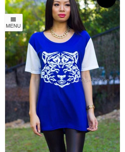 shirt blue white tiger