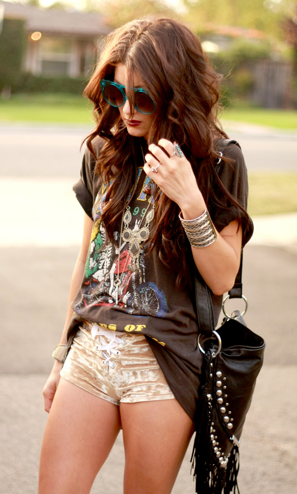 t-shirt brand band t-shirt hippie indian colorful miley cyrus shoes shorts