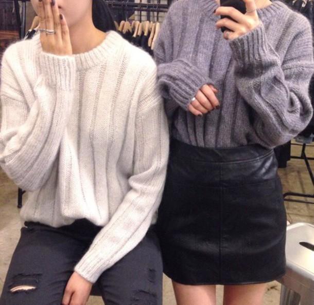 sweater cardigan skirt winter sweater white grey wool black skirt cute oversized sweater wool sweater style top knitted sweater white sweater grey sweater