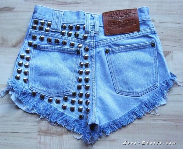 jeans studded levi's denim girl shorts
