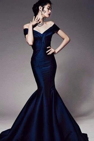 dress looking for a navy long fishtail simple pattern no lace no gems brand unknown