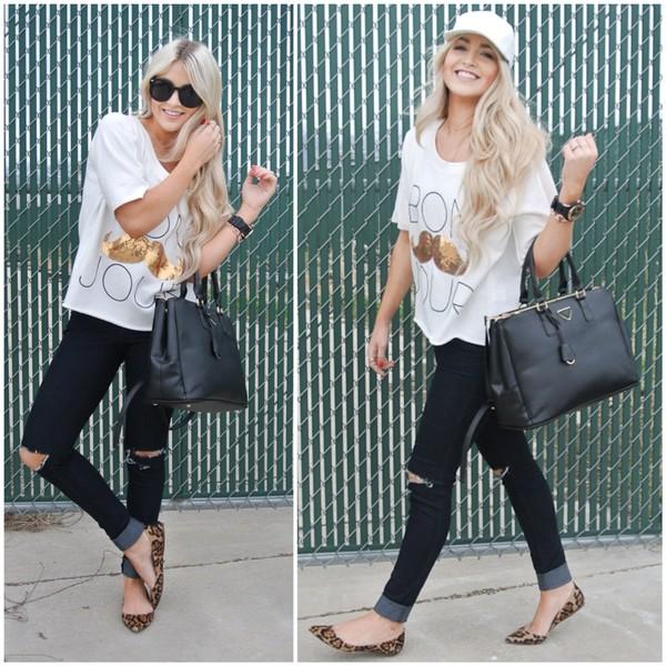 t-shirt bonjour moustache black pants bag hat pants