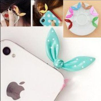 CASESTORE New Design High Quality Rhinestone Bunny Ear Cellular Phone Accessories 3.5mm Cellphone Charms Anti-dust Dustproof Earphone Audio Headphone Jack Plug Stopper for Iphone 3g 3gs 4 4s Ipad 2 3 (The New Ipad)and Other 3.5mm Ear Jack, Blackberry Z10,i on Wanelo