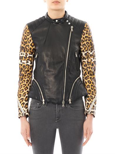 Leopard-print sleeve leather biker jacket   3.1 Phillip Lim   ...